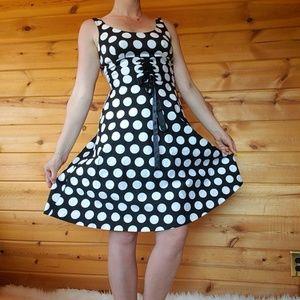 Polka dot dress 50s retro sleeveless corset black